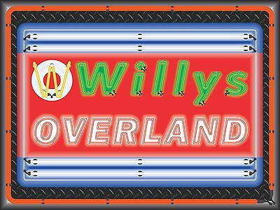 Willys Overland Dealer Style Neon Effect Printed Banner Sign Art 4' X 3'