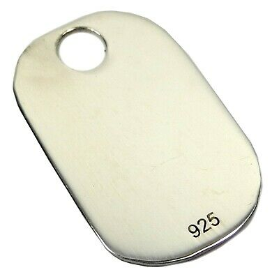 Sterling Silver .925 Hallmarked Metal Military Army Dog Tags 25mm Tag Gift -FD25