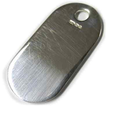 Sterling Silver .925 Hallmarked Metal Military Army Dog Tags 46mm Tag Gift -FD46