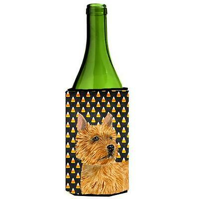 Norwich Terrier Candy Corn Halloween Portrait Wine Bottle Hugger
