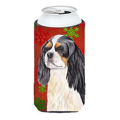 Cavalier Spaniel Snowflakes Holiday Christmas Tall Boy Hugger 22 To 24 oz.