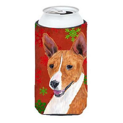 Basenji Red and Green Snowflakes Holiday Christmas Tall Boy Hugger
