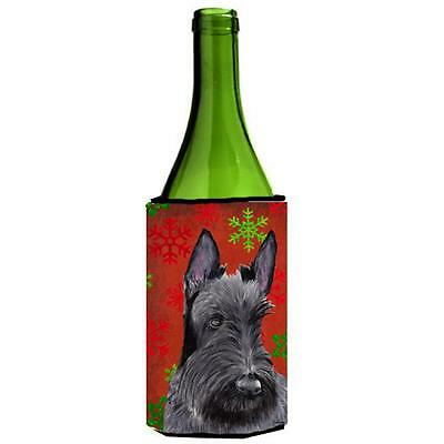 Scottish Terrier Snowflakes Holiday Christmas Wine Bottle Hugger