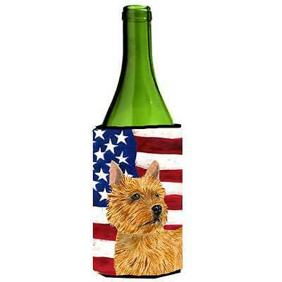 Usa American Flag With Norwich Terrier Wine Bottle Hugger 24 oz.
