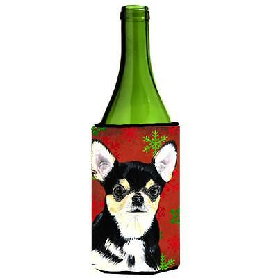 Chihuahua Red And Green Snowflakes Holiday Christmas Wine Bottle Hugger 24 oz.