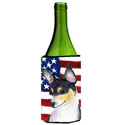 Carolines Treasures Usa American Flag With Fox Terrier Wine Bottle Hugger 24 oz.