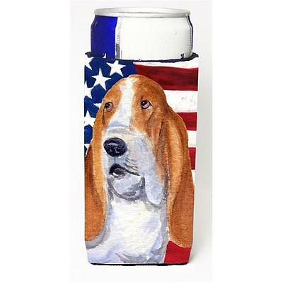 Usa American Flag With Basset Hound Michelob Ultra s For Slim Cans 12 oz.