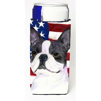 Usa American Flag With Boston Terrier Michelob Ultra s For Slim Cans 12 oz.