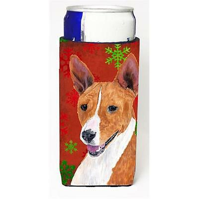 Basenji Red and Green Snowflakes Holiday Christmas Michelob Ultra s for slim ...
