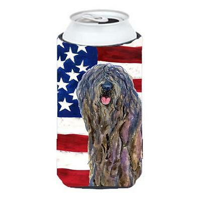 Usa American Flag With Bergamasco Sheepdog Tall Boy Hugger 22 To 24 oz. • AUD 47.47