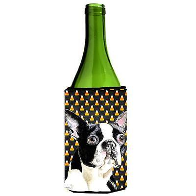 Boston Terrier Candy Corn Halloween Portrait Wine Bottle Hugger