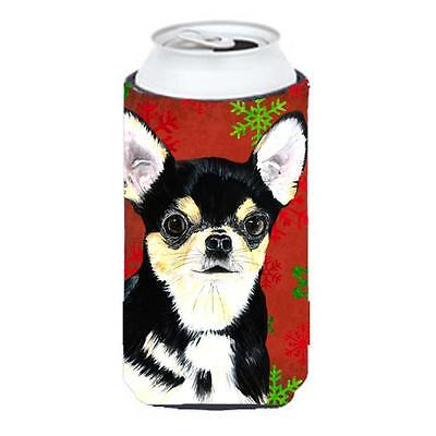 Chihuahua Red And Green Snowflakes Holiday Christmas Tall Boy Hugger 22 To 24...