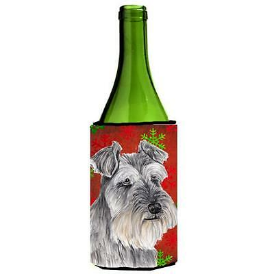 Schnauzer Red And Green Snowflakes Holiday Christmas Wine Bottle Hugger 24 oz.