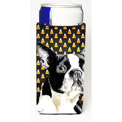 Boston Terrier Candy Corn Halloween Portrait Michelob Ultra s for slim cans