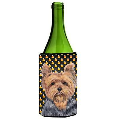 Yorkie Candy Corn Halloween Portrait Wine Bottle Hugger 24 oz.