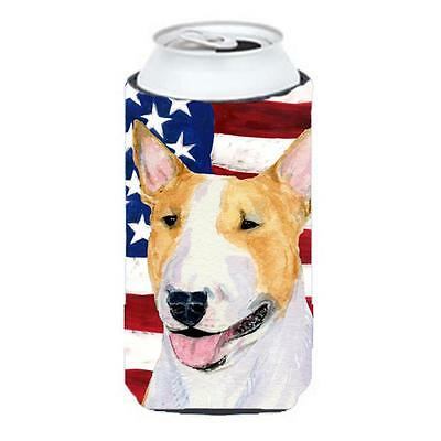 Usa American Flag With Bull Terrier Tall Boy Hugger 22 To 24 oz.