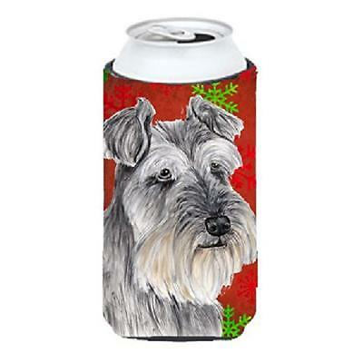 Schnauzer Red And Green Snowflakes Holiday Christmas Tall Boy Hugger 22 To 24...