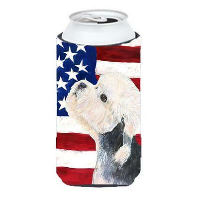 Usa American Flag With Dandie Dinmont Terrier Tall Boy Hugger 22 To 24 oz.