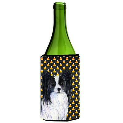 Papillon Candy Corn Halloween Portrait Wine Bottle Hugger 24 oz.