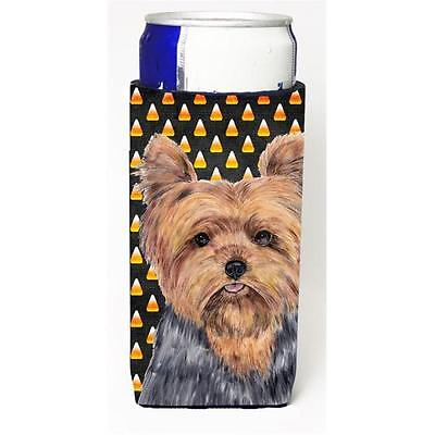 Yorkie Candy Corn Halloween Portrait Michelob Ultra s For Slim Cans 12 oz.