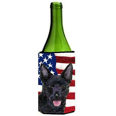 Usa American Flag With Australian Kelpie Wine Bottle Hugger 24 oz.