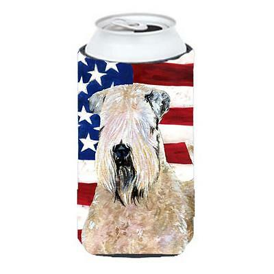 Usa American Flag With Wheaten Terrier Soft Coated Tall Boy Hugger 22 To 24 oz.