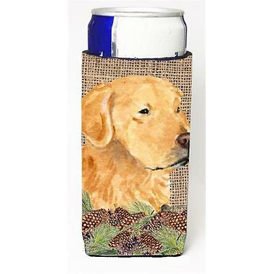Golden Retriever On Faux Burlap With Pine Cones Michelob Ultra bottle sleeve ...