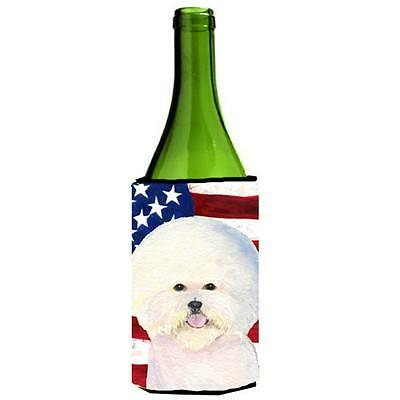Usa American Flag With Bichon Frise Wine Bottle Hugger 24 oz.