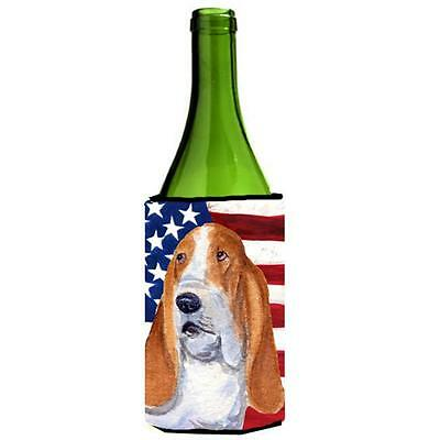Usa American Flag With Basset Hound Wine Bottle Hugger 24 oz.
