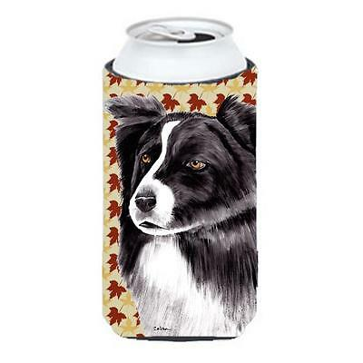 Border Collie Fall Leaves Portrait Tall Boy Hugger 22 To 24 oz.