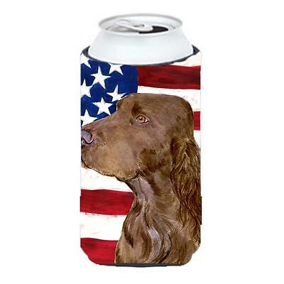 Usa American Flag With Field Spaniel Tall Boy Hugger 22 To 24 oz.