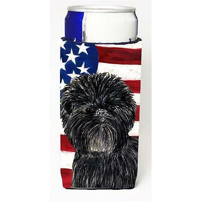 Usa American Flag With Affenpinscher Michelob Ultra bottle sleeves For Slim C...