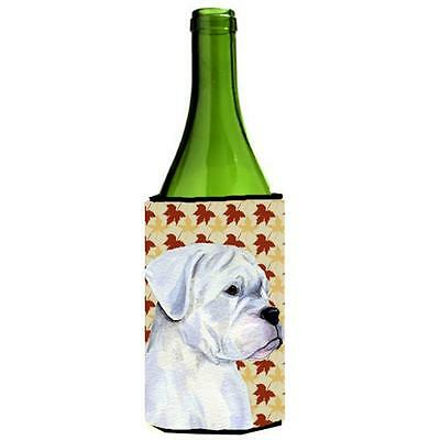 Boxer White Fall Leaves Portrait Wine bottle sleeve Hugger 24 oz.