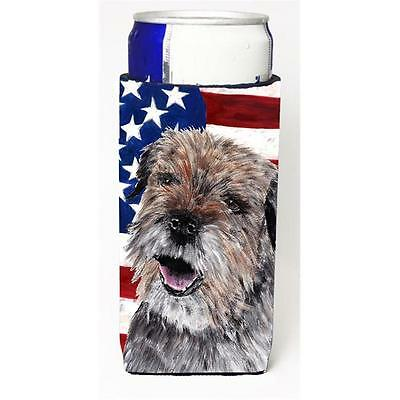 Border Terrier Mix Usa American Flag Michelob Ultra bottle sleeves For Slim C...