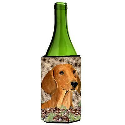 Dachshund On Faux Burlap With Pine Cones Wine bottle sleeve Hugger
