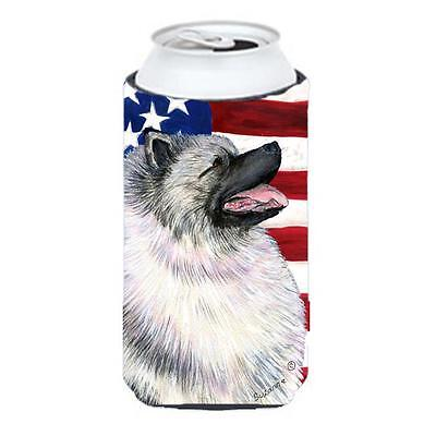 Usa American Flag With Keeshond Tall Boy bottle sleeve Hugger