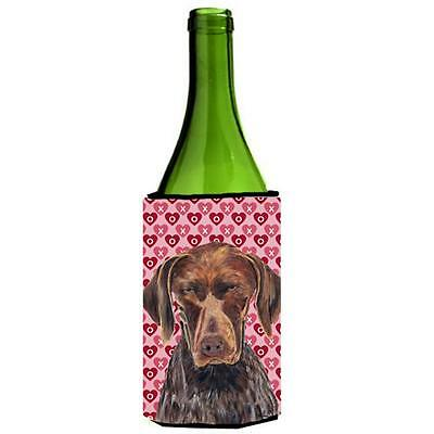 German Shorthaired Pointer Hearts Valentines Day Wine bottle sleeve Hugger 24...