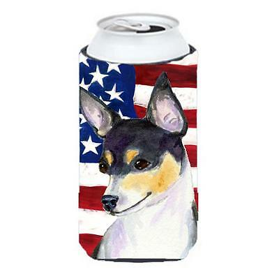 Usa American Flag With Fox Terrier Tall Boy Hugger 22 To 24 oz.