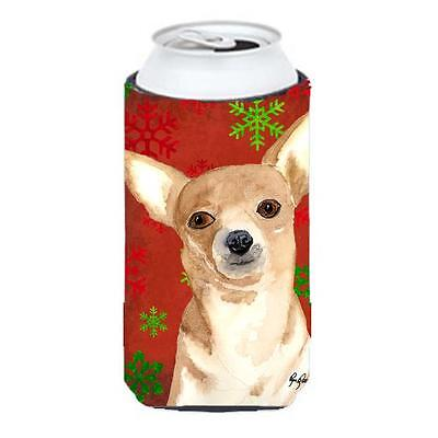 Red Snowflake Chihuahua Christmas Tall Boy bottle sleeve Hugger 22 to 24 oz.