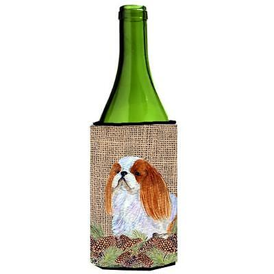 English Toy Spaniel on Faux Burlap with Pine Cones Wine bottle sleeve Hugger ...