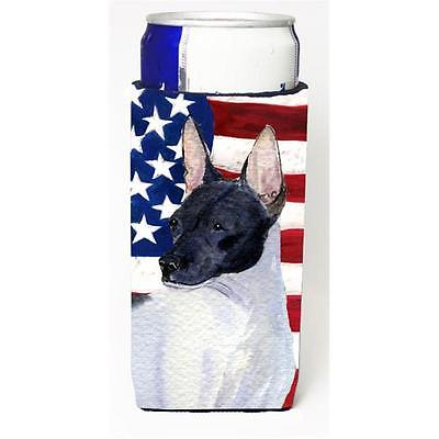 Usa American Flag With Rat Terrier Michelob Ultra bottle sleeve for Slim Can