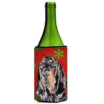 Coonhound Red Snowflake Christmas Wine bottle sleeve Hugger 24 oz.