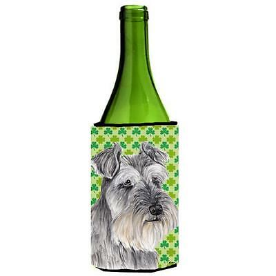 Schnauzer St. Patricks Day Shamrock Portrait Wine bottle sleeve Hugger 24 oz.