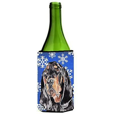 Coonhound Blue Snowflake Winter Wine bottle sleeve Hugger 24 oz.