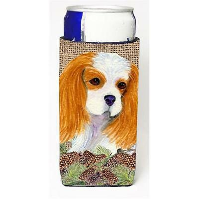 Cavalier Spaniel On Faux Burlap With Pine Cones Michelob Ultra bottle sleeves...