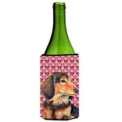 Dachshund Hearts Love Valentines Day Portrait Wine bottle sleeve Hugger