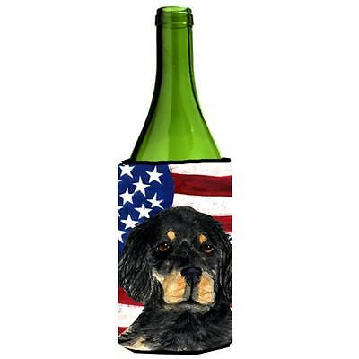 Usa American Flag With Gordon Setter Wine bottle sleeve Hugger 24 oz.