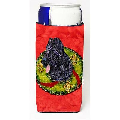 Briard Christmas Wreath Michelob Ultra bottle sleeves For Slim Cans 12 oz.