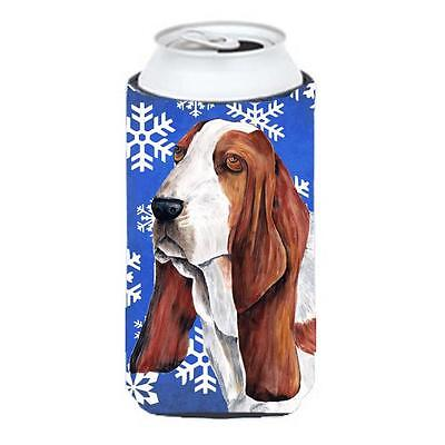 Basset Hound Winter Snowflakes Holiday Tall Boy bottle sleeve Hugger 22 To 24...