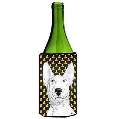Carolines Treasures Bull Terrier Halloween Candy Corn Wine bottle sleeve Hugger